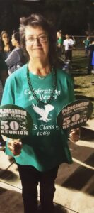 Debbie May at her 50th class reunion for Pleasanton High School.