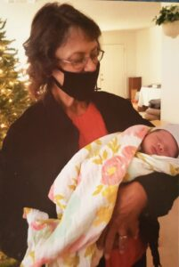 Debbie May with her first great-grandchild, Amelia.