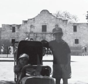 A young pair of Whitaker brothers, Stephen (L) and Heath (R) visit the Alamo near the beginning of 1990. COURTESY PHOTO | WHITAKER FAMILY ARCHIVES