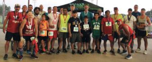 Above: The male age group winners, 9-78, of the Patriot's Day 5K, which was run at Pleasanton's River Park. REBECCA PESQUEDA | PLEASANTON EXPRESS