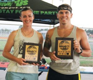 The Overall winners of each race. Nicole Brauchle (L) won the women's race and Camden Schmitz (R) won the men's race. REBECCA PESQUEDA | PLEASANTON EXPRESS