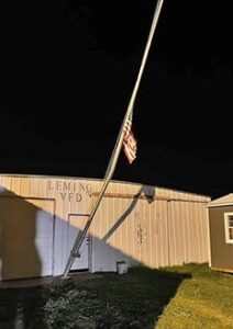 The victim of the crash was ejected from his vehicle and made contact with the flag pole outside of the Leming VFD. LEMING VFD | COURTESY PHOTO