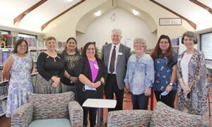 Members of the Atascosa County Librarians Board of Directors and Tocker Foundation were also in attendance at the grand opening of the Charlotte Public Library on Sept. 13. Pictured, from left, are board member Diana Gonzales Leal, Charlotte Librarian Marianne McGinnis, Lytle Librarian Cassandra Cortez, Pleasanton Librarian Dorothy Steelman, Darryl Tocker of the Tocker Foundation, Jourdanton Librarian Dorothy Manning, Jourdanton Librarian Assistant Mary Cardenas and Karin Gerstenhaber of the Tocker Foundation. Not pictured is Poteet Librarian Lisa Burbridge. REBECCA PESQUEDA | PLEASANTON EXPRESS