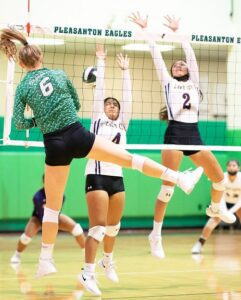 Sadie McAda recorded her 1,000 career kill during the Lady Eagles game against Carrizo Springs on Friday night J GARCIA   PLEASANTON EXPRESS