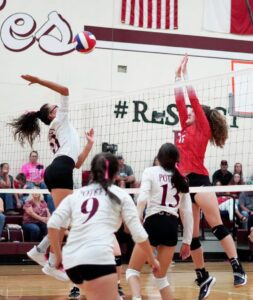 Poteet's Aniyah Pequeno goes up for the ball during the game against Jourdanton in the Aggie Gym last Friday night. RONIN GARCIA | PLEASANTON EXPRESS
