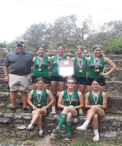 The Pleasanton Lady Eagle Cross Country team won the district meet on Tuesday in Seguin. COURTESY PHOTO   CAROLA BARCOMB