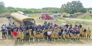 The Pleasanton Fire Department hosted a training class this past weekend for 76 students from multiple fire departments. The three-day training was provided for by Metro Fire and included firefighters from Atascocita Fire Department; Bexar County ESD #5 Fire & Rescue; Carrizo Springs VFD; Jourdanton VFD; Kingsbury Fire Department; Rankin VFD; Nueces County ESD #2; Phillips 66-Beaumont, TX; San Antonio Fire Department; Silsbee VFD; Sisterdale VFD; Madrid, Spain Fire Department; Willow City Volunteer Fire and Rescue; Carrizo Springs VFD; Humble, TX; Lytle Fire Department; Castroville Fire Department; Sabinal VFD; Charlotte VFD; Moore VFD; Natalia VFD; Flatonia VFD; Hollywood, Florida and Orange Grove Fire Department. CADE ANDREWS | PLEASANTON EXPRESS